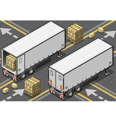 Isometric tow fridge container truck in rear view vector