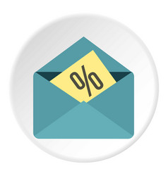Card with percent sign the envelope icon circle vector