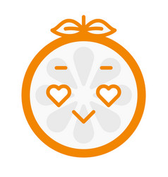 Emoji - orange in love with happy smile isolated vector