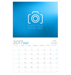 2017 wall calendar planner design template may vector