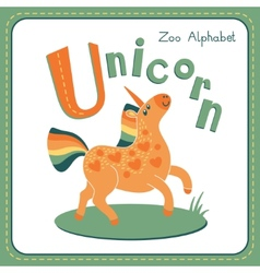 Letter u - unicorn vector