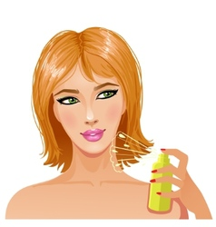 Cute young woman with bottle of perfume eps10 vector