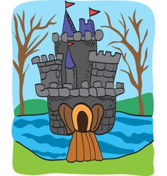 Fairy tale castle drawing vector