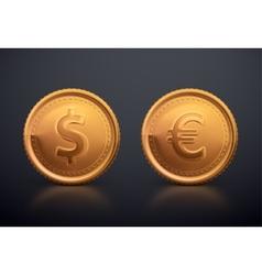 Coin Dollar and Euro vector image