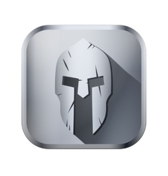 Square icon of spartan helmet with scratches from vector