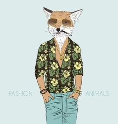 Fox dressed up in aloha shirt vector