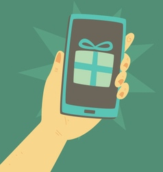 Cartoon Hand Holding a Smartphone with a Present i vector image