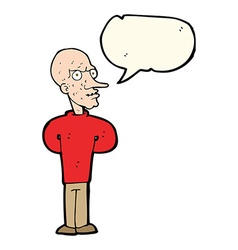 Cartoon evil bald man with speech bubble vector
