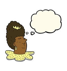 Cartoon queen head with thought bubble vector