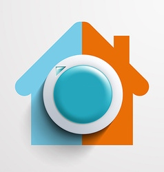 Round thermostat for temperature control vector image
