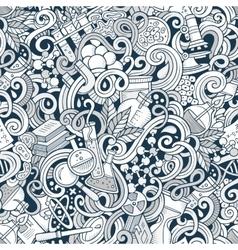 Cartoon hand-drawn science doodles seamless vector