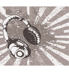 Concert wallpaper with headphones vector