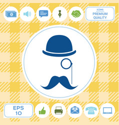 Abstract hipster silhouette with bowler hat vector
