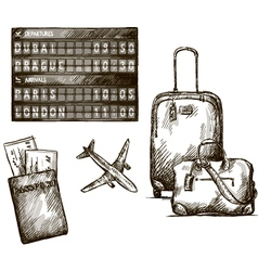 Airplane travel doodles Hand drawn vector image