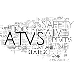 Atv safety issues text word cloud concept vector