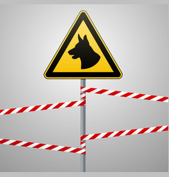 aution - danger be aware of dogs the area is vector image