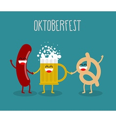 Beer sausage and pretzel friends Oktoberfest food vector image vector image