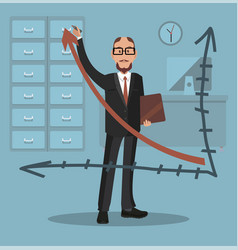 businessman draws a graph flat style vector image