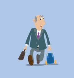 businessman running with a suitcase vector image