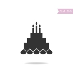 Cake with candles black silhouette flat icon vector