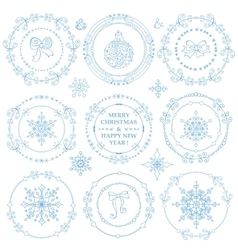 ChristmasNew year decor setWinter frames vector image vector image