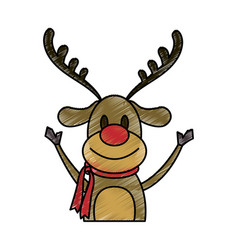 Color pencil cartoon half body reindeer with scarf vector