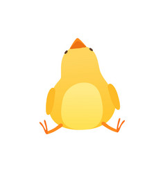 Cute baby chicken sitting on the floor and looking vector