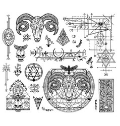 design set with mystic graphic drawings vector image vector image