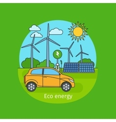 Eco energy concept with car vector image vector image
