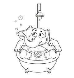 Elephant taking a bath cartoon vector