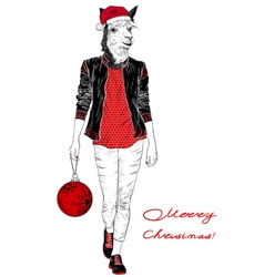 Fashion christmas woman with the head of alpaca vector