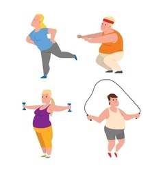 Fat people fitness gym vector image vector image