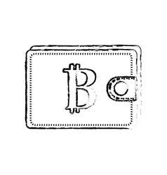 Figure bitcoin symbon in the wallet to save money vector
