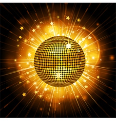 Gold disco ball starburst vector