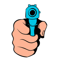 Hand pointing with the gun icon icon cartoon vector