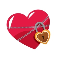 Heart with padlock icon vector