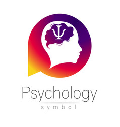 Modern head sign of psychology human in a circle vector