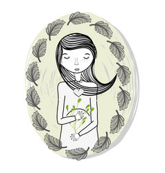 Mother with ayes closed and leaves vector