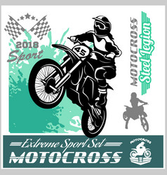 Motocross rider - emblem and logos vector