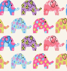 Pattern with colorful elephant vector image