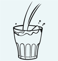 Pouring a glass of milk vector