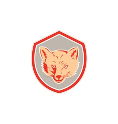 Red fox head front shield retro vector