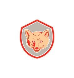 Red Fox Head Front Shield Retro vector image vector image
