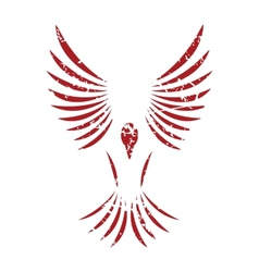 Red grunge bird logo vector