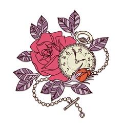 Rose clock tattoo design vector