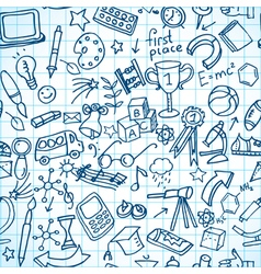 Seamless school doodles vector image