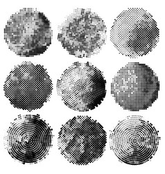 set of abstract halftone black circles vector image