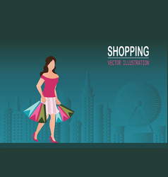 shopping woman wearing high heel shoes and vector image vector image