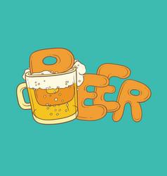 Sketch pint tumbler of beer vector