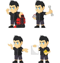 Spiky rocker boy customizable mascot 11 vector